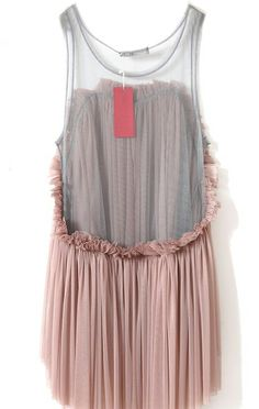 Dark Pink Frill Pleated Sheer Mesh Back High-low Top - Sheinside.com
