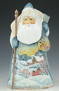 Snowy Christmas Morning Russian Hand Carved and Painted Santa Claus