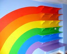 Rainbow wall for a baby room Rainbow Room Kids, Rainbow Bedroom, Rainbow House, Rainbow Nursery, Big Girl Rooms, Over The Rainbow, Kids Decor, Classroom Decor, Kids Bedroom