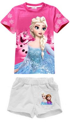 Frozen clothes Elsa & Anna Summer clothing sets For Girls NEW girls clothing sets cotton t shirt+pants
