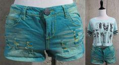 No Boundaries Low Rise Turquoise Two Tone Distressed Denim Shorts, Juniors 9 #NoBoundaries #Denim