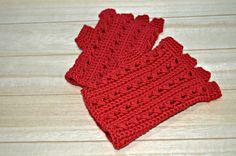 girls crochet gloves half finger mittens red by CrochetRomance