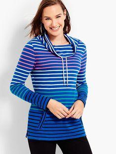Funnel-Neck Top-Stripe | Talbots