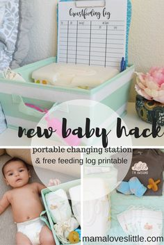 Mama Loves Little: New Baby Hack- Portable Diaper Changing Station (free.  feeding log printable!). #ad #backtobabybasics #huggies