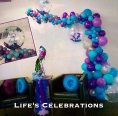 Organic decor, love the analogous color scheme! Balloon Installation, Balloon Backdrop, Balloon Columns, Balloon Garland, Balloon Decorations, Baby Shower Decorations, Boy Birthday Parties, Birthday Party Decorations, Frozen Birthday