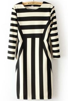 White-black Striped Half Sleeve Wrap Polyester Mini Dress