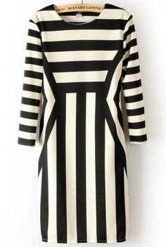 White-black Striped Half Sleeve Wrap Polyester Mini Dress