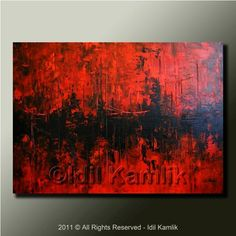 Original ABSTRACT Modern RED and Black PAINTING Textured Contemporary Fine Art by Idil Kamlik