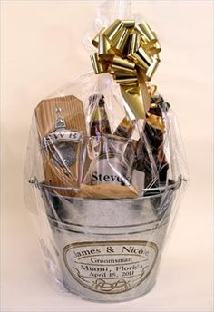 The ultimate Groomsman Gift - Personalized Capcatcher, personalized Pub Glass and bucket. Gift Wrapped for your Groomsmen