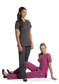 Favale Grey and Raspberry Salon Uniform, Spa Uniform, Hotel Uniform, Scrubs Uniform, Beauty Tunics, Salon Wear, Beauty Uniforms, Organic Gardening Magazine, Hotel Spa