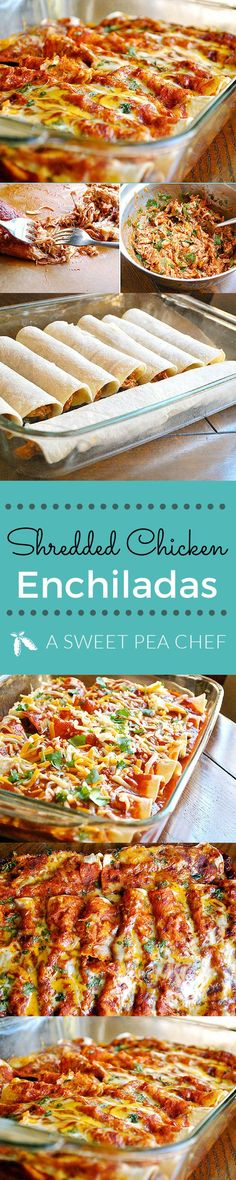 This Shredded Chicken Enchiladas recipe is a great dinner in 45 minutes its super easy and probably the best chicken enchiladas recipe and images by Lacey Baier | www.asweetpeachef.com