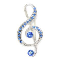 Treble Clef Music Stave coloured-stoned diamante crystal gold-plated pin brooch