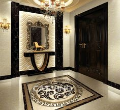 waterjet marble medallion pattern flooring Looking for exclusive agent for our patented CASVINO products Please contact me if any inquiry 126 com - pinupi love to share Entrance Hall Decor, Entrance Design, Entryway Decor, Flur Design, Wall Design, Ceiling Design, Luxury Home Decor, Luxury Interior Design, Home Room Design