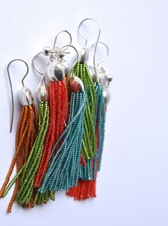 donauluft: Studio news : Tassel earrings in luminous colors
