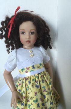 "Helen Kish Chrysalis Doll Clothes 14"" Handmade Dress In Yellow & White #Kish…"