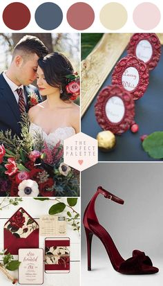 Marsala and Navy Blue Wedding Inspiration - www.theperfectpalette.com - Color…