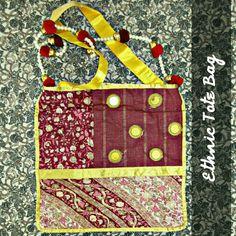 TITLE : Maroon Gold Silk. MEDIUM : Silk,Sequence,Ribbon,Glitter and Beads. FEATURE : A beady Toran is made as a sling ! #MeghnaCreations #creations #ethnictotebag #silk #maroongold #sequence #ribbon #glitter #beads #material #toran #funkyart #bigbag #stylewearing  #gift #artybag #busystyle #mumbai #pintrest