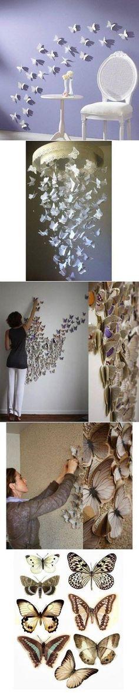 DIY Butterfly Pattern Wall Decor DIY Butterfly Pattern Wall Decor by diyforever Diy Butterfly, Butterfly Pattern, Butterfly Shape, Butterfly Mobile, Butterfly Design, Butterfly Outline, Butterfly Project, Butterfly Wall Decor, Butterfly Template