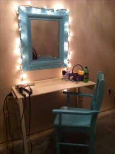 DIY Vanity makeup table out of shelf and mirror Not a lot of wall