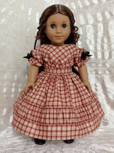 RESERVED 1850's dress for MarieGrace or Cecile by DollSizeDesigns, $89.00
