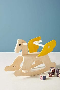 This rocking horse is so cute! Perfect for the modern playroom for the kids Modern Playroom, Nursery Modern, Playroom Design, Playroom Decor, Kids Decor, Pegasus, Toddler Toys, Baby Toys, Nursery Decor Boy