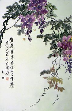 Chinese wistaria from Paul Huang - Sumi-e Watercolor Art, Art Painting, Chinese Art Painting, Korean Art, Flower Art, Asian Artwork, Artwork, Eastern Art, Ink Painting