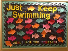 Finding Nemo, each week write a goal on a diff underwater object and decorate the board