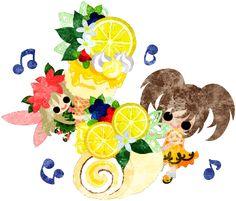 女の子と妖精とレモンのアイスとレモンのロールケーキのイラスト