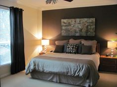 Master Bedroom Redo, Our master bedroom was so out of date, especially after our master bath remodel a year ago., Changed wall color from a buttercup yellow to light tan and dark brown.  , Bedrooms Design