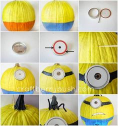 cute minion pumpkin crafts decorations tutorial for 2014 Halloween Minion Halloween, Minion Party, Holidays Halloween, Halloween Pumpkins, Halloween Crafts, Happy Halloween, Halloween Decorations, Halloween Ideas, Halloween Party