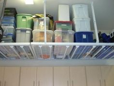 tidy overhead garage storage ideas
