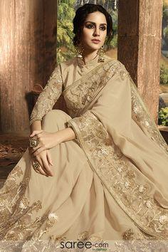 Superb Beige Color Silk And Net Classic Designer Saree Designer Bridal Lehenga, Bridal Lehenga Choli, Indian Lehenga, Wedding Sarees Online, Saree Wedding, Indian Dresses, Indian Outfits, Beau Sari, Organza Saree