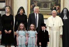 El Papa No Muy Contento Al Conocer A La Familia Trump
