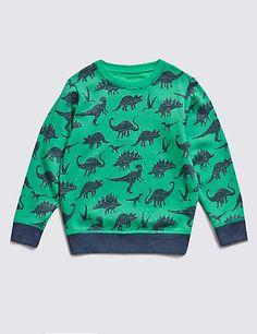 Pure Cotton Dinosaur Print Sweatshirt (1-7 Years)   M&S