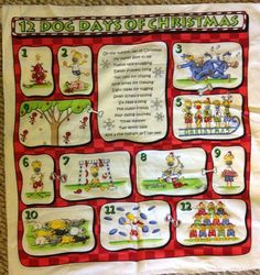 DOGS 12 Days of Christmas Cotton Quilt Fabric Panel 22X22""