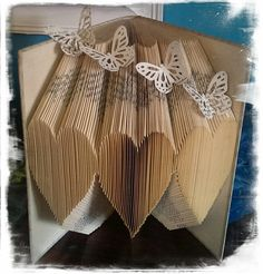 Free beginner Book folding pattern with video tutorial! - All in the folds How to book fold Old Book Crafts, Book Page Crafts, Paper Crafts, Folded Book Art, Paper Book, Book Folding Patterns Free Templates, Origami, Cut And Fold Books, Altered Book Art