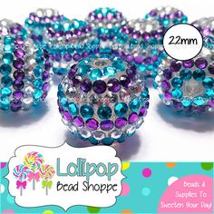 TURQUOISE PURPLE & SILVER Rhinestone Beads 22mm Chunky Necklace Beads 10-ct Frozen Beads Round Striped Beads Acrylic Resin Bubblegum Beads by LollipopBeadShoppe