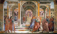 Domenico Ghirlandaio - parete di sinistra - Storie di Maria - 01, Gioacchino cacciato dal  Tempio perché sterile - affresco - 1486-90 - Cappella Tornabuoni - Basilica di Santa Maria Novella, Firenze