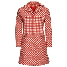 Gingham coat, 1970s ($415) ❤ liked on Polyvore featuring outerwear, coats and red coat