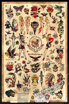 Sailor Jerry Tattoo Flash 2 Poster drucken von MarkPaintAndPrints