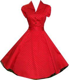 Pretty Kitty Fashion 50s Polka Dot Rot Schwarz Cocktail Kleid: Amazon.de: Bekleidung