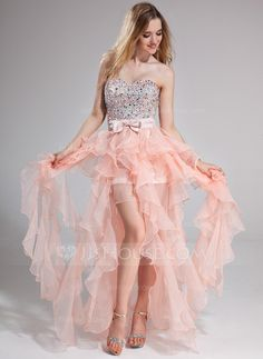 Prom Dresses - $172.99 - A-Line/Princess Sweetheart Floor-Length Organza Charmeuse Prom Dress With Beading Bow(s) Cascading Ruffles (018025274) http://jjshouse.com/A-Line-Princess-Sweetheart-Floor-Length-Organza-Charmeuse-Prom-Dress-With-Beading-Bow-S-Cascading-Ruffles-018025274-g25274