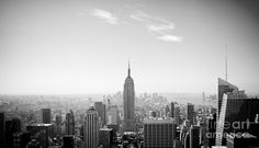 New York City - Empire State Building Panorama Black And White Photograph