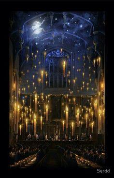 Harry Potter. Hogwarts castle. Candles