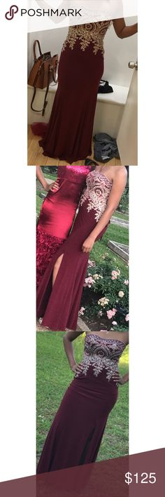 Prom Dress Prom Dress: Strapless, Burgundy and Gold With A Slit Size 6 Dresses Prom