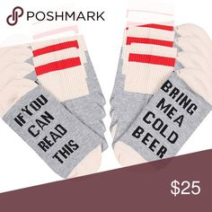 "Bring me a Beer socks ""If you can read this bring me a cold beer"" 🍺 (1 pair) Accessories Hosiery & Socks"