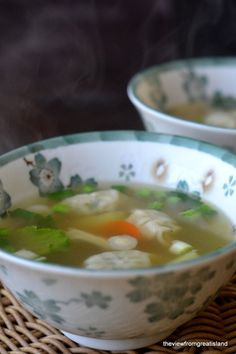 Miso Wonton Soup Recipe ~ warm, satisfying and low calorie
