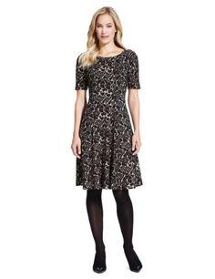 M&S Collection Jacquard Rose Skater Dress-Marks & Spencer