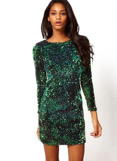 Sequined Bodycon Green Dress