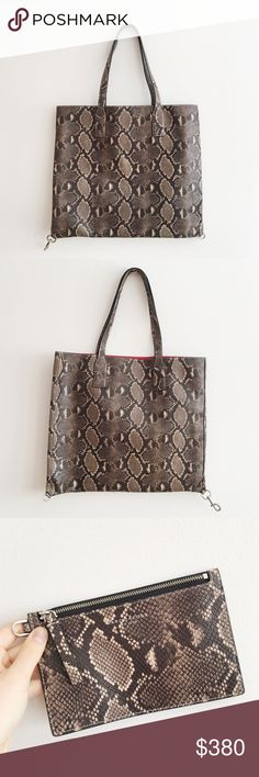 Marc Jacobs Python Tote Great condition; comes with pictured pouch and original dustbag // Measurements: Bottom Width: 18 in Depth: 1 1⁄4 in Height: 15 in Strap Length: 29 in Strap Drop: 10 in Weight: 1 lb 4 oz Marc Jacobs Bags